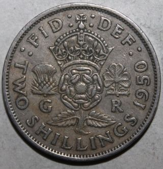 British Two Shillings (florin) Coin,  1950 - Km 878 - Britain George Vi Uk 2 photo
