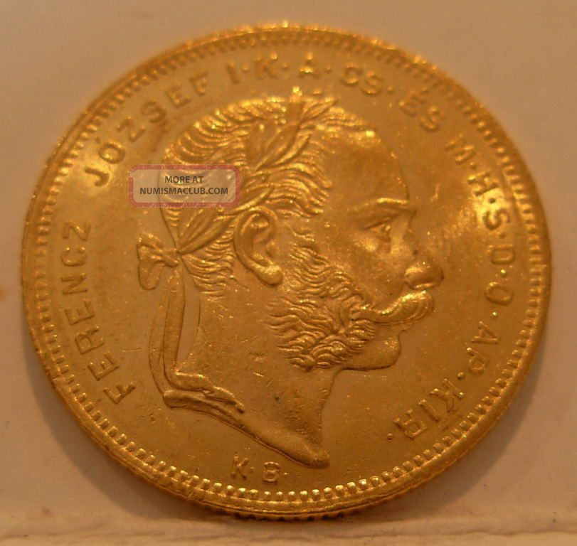 Hungary 1877 Kb Gold 8 Forint 20 Francs Unc Coins: World photo