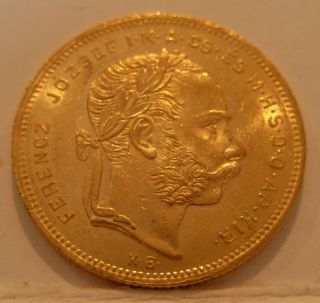 Hungary 1877 Kb Gold 8 Forint 20 Francs Unc photo