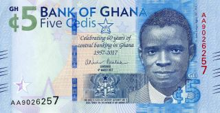 Ghana 5 Cedis 2017 P Comm.  60th Unc photo