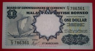 Malaya & British Borneo 1959 $1 Thomas De La Rue Print Note. photo