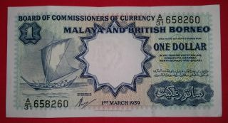 Malaya & British Borneo 1959 $1 Waterlow & Son Print Note. photo
