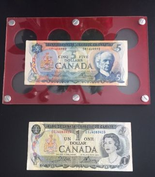 Canadian Paper Money $1 (1973),  $2 (1954),  And $5 (1972) Bills photo