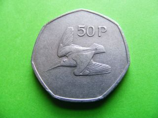 1983 Irish Vintage Decimal Fifty Pence Coin Woodcock Bird Celtic Harp - Ireland photo