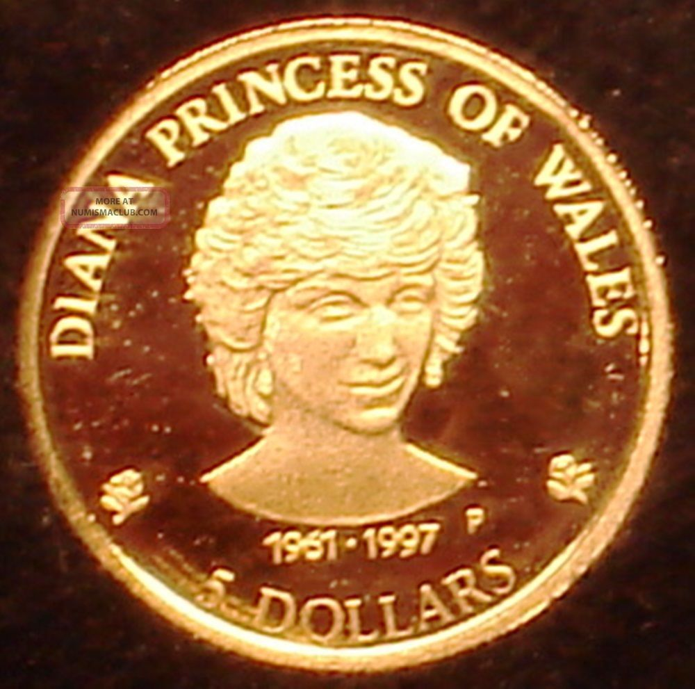 Cook Islands 5$.  999 Gold Proof 1997 Lady Diana Princess Of Wales - Coins: World photo