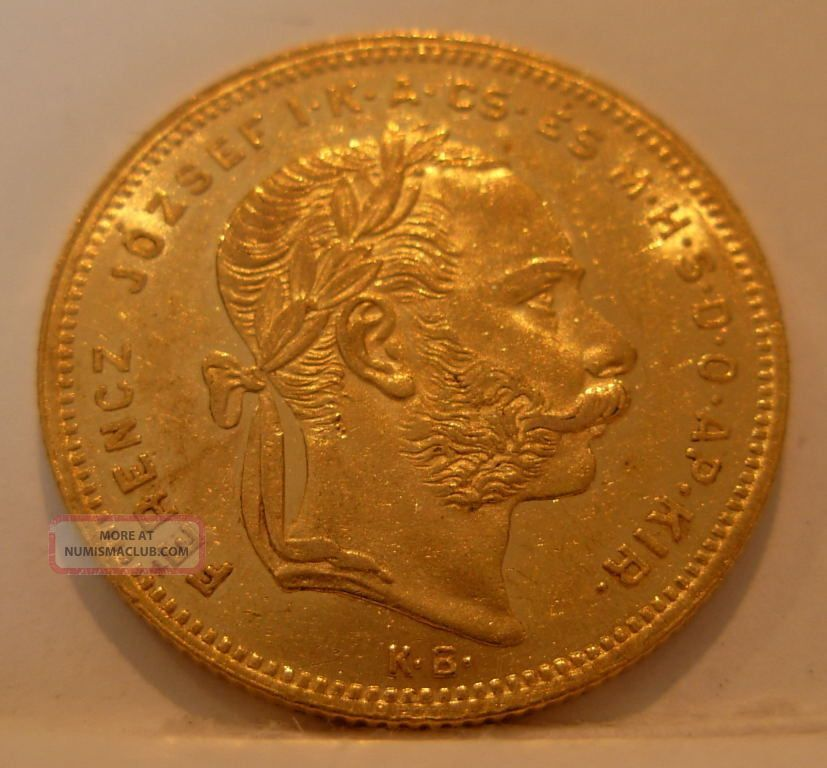 Hungary 1878 Kb Gold 8 Forint 20 Francs Unc Coins: World photo
