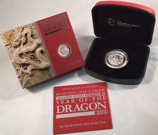 Australian Lunar Year Of The Dragon 2012 High Relief Silver Coin Perth photo