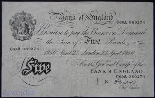 Bank Of England 5 Pounds 1956 O ' Brien Great Britain Vf - photo