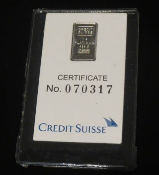 Platinum 1 Gram Pure 999.  5 Fine Statue Of Liberty Bar Credit Suisse photo
