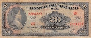 México 20 Pesos 22.  7.  1970 Series Bih Prefix Z Circulated Banknote photo