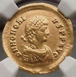 Honorius 393ad Sirmium Ancient Gold Solidus Ngc Certified Roman Coin I54528 photo