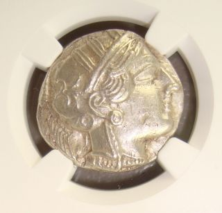 454 - 404 Bc Attica Athens Athena / Owl Ancient Greek Silver Tetradrachm Ngc Ch Au photo