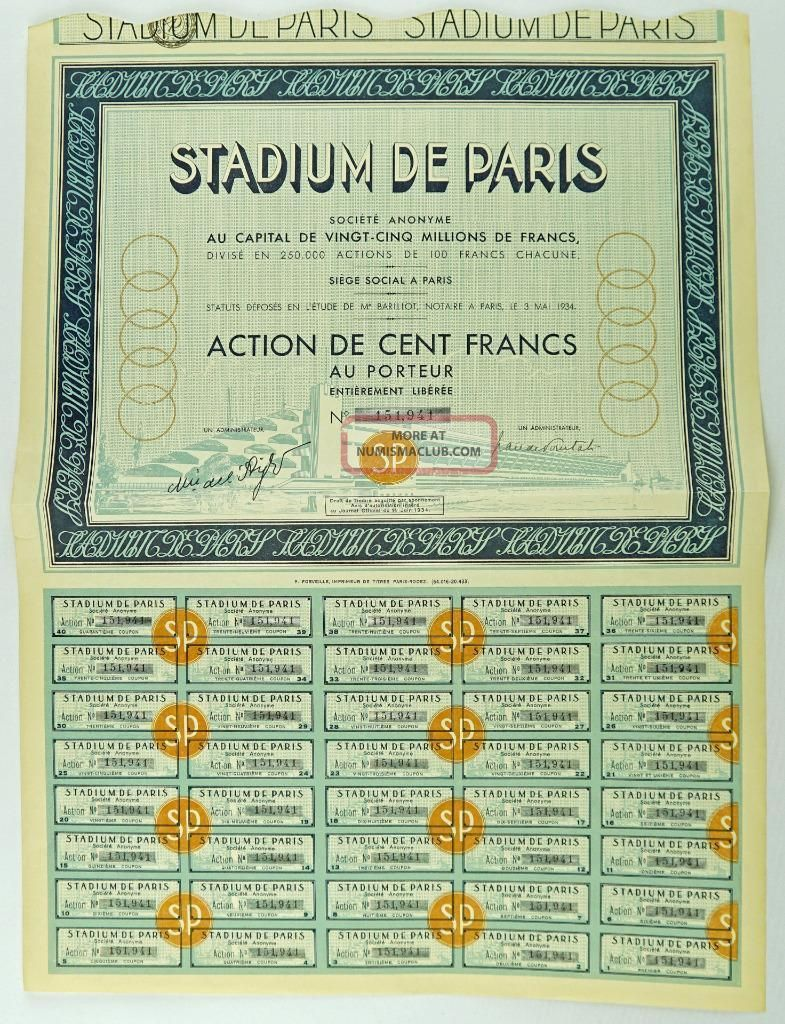 Historic Bond For Stadium De Paris Proposed 1936 Olympic Games Stadium World photo