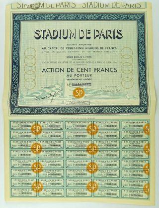 Historic Bond For Stadium De Paris Proposed 1936 Olympic Games Stadium photo