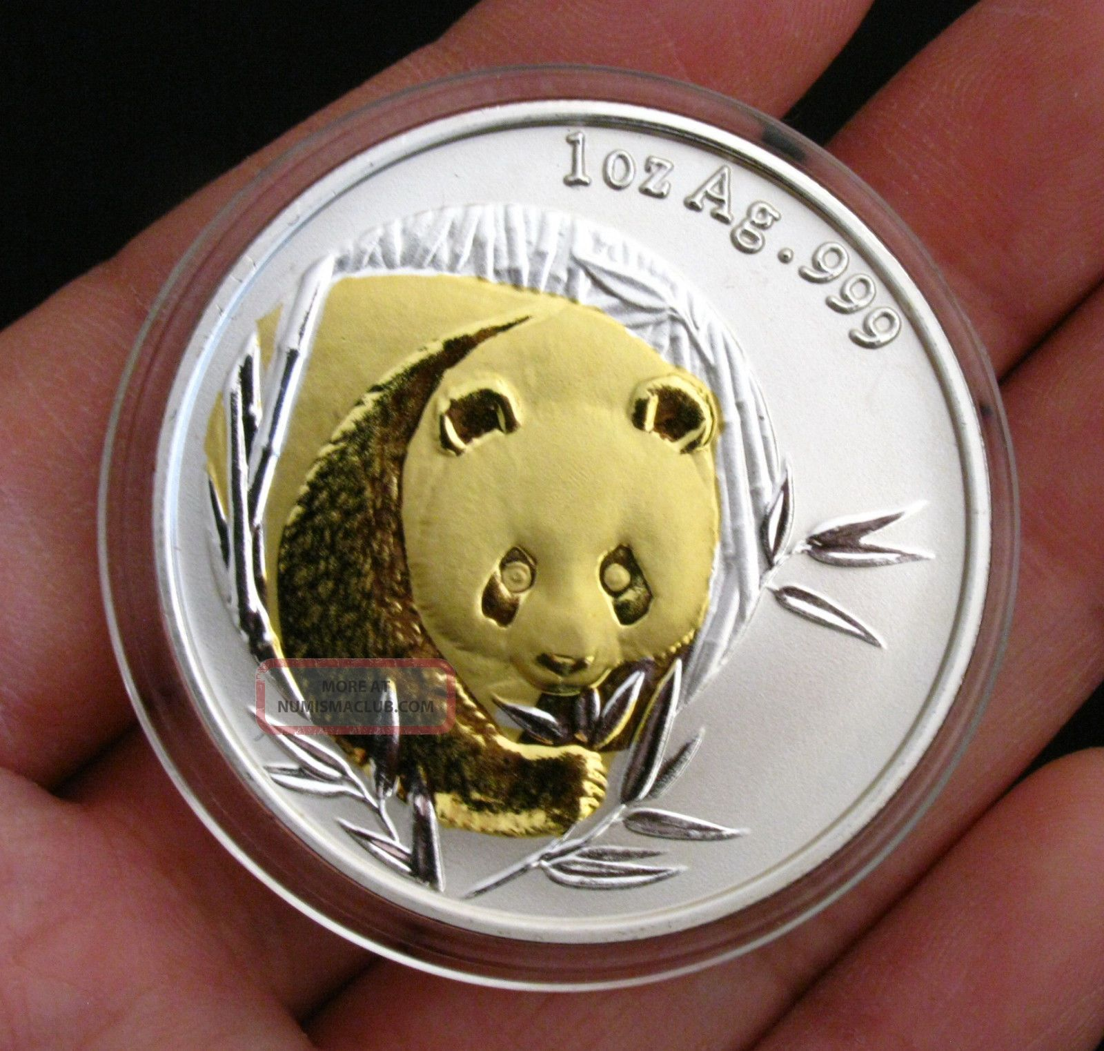 2003 Chinese Giant Panda 24k Gold & Silver Commemorative Medal Bimetallic Coin Coins: World photo