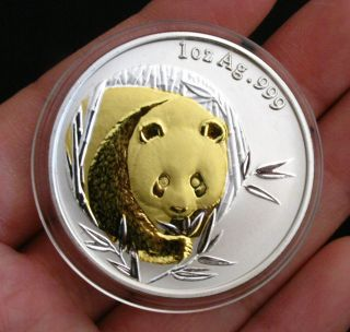 2003 Chinese Giant Panda 24k Gold & Silver Commemorative Medal Bimetallic Coin photo