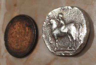 Ancient Greek Silver Coin Dolphin Horse Didrachm Taras Calabria Circus 280 Bc photo