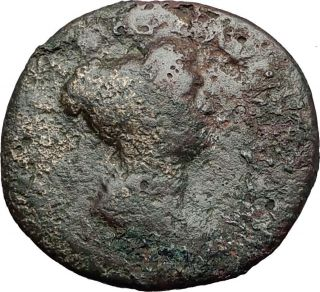 Julia Titi 80ad Rome Dupondius Vesta Ancient Roman Coin Under Titus Rare I58356 photo