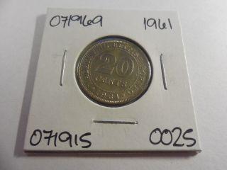 1961 Malaya,  British Borneo 20 Cents - - 071969 photo