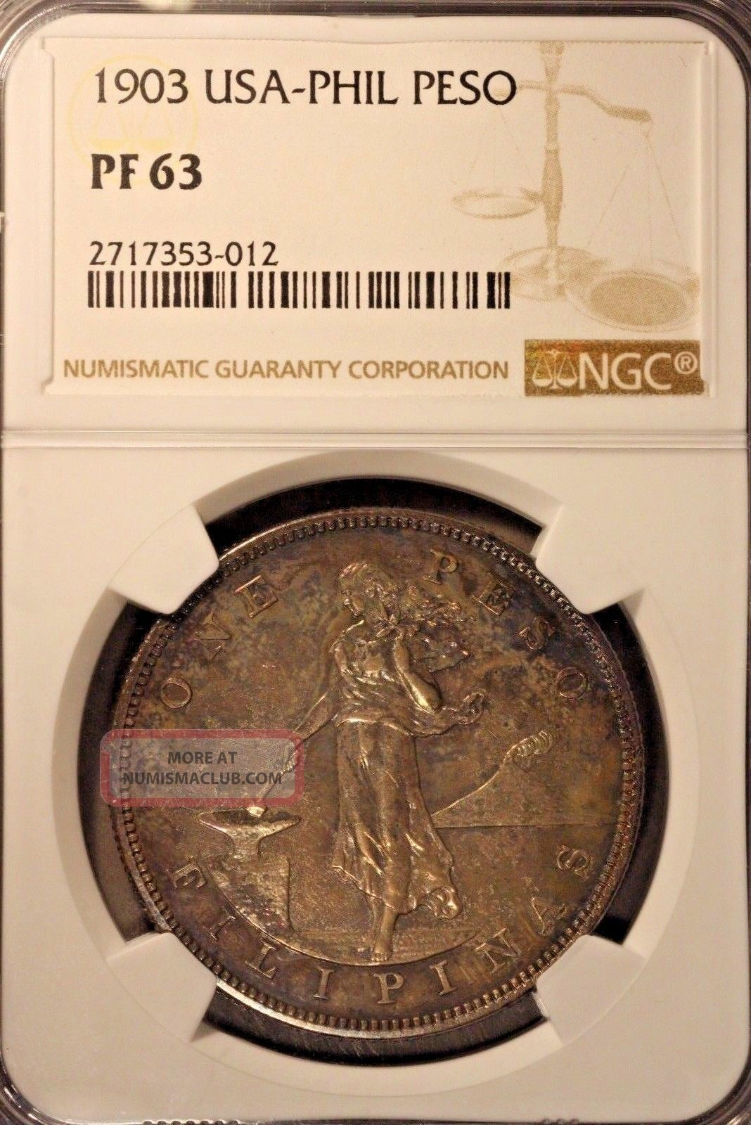 1903 Philippines Usa Silver Peso Proof,  Ngc Pf 63 Toned U.  S Philippines photo