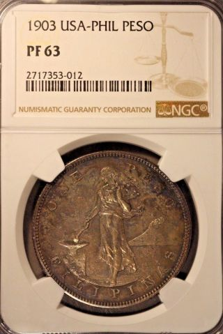 1903 Philippines Usa Silver Peso Proof,  Ngc Pf 63 Toned U.  S photo