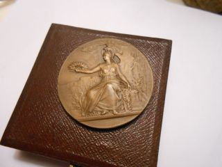 French Art Nouveau Athena/parthenon Ville De Dijon Bronze Medal photo