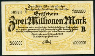 Reichsbahndirektion Karlsruhe 2 Millionen Mark 10/8/1923 Ef Railroads P - S1267 photo