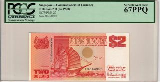 Singapore 2 Dollars (1990) P27 Ship Em644903 Banknote Pcgs 67 Ppq photo