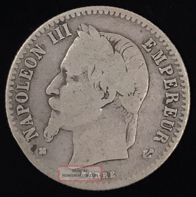 1867 Bb France 50 Cents French Silver Centimes Napole 243 N Iii Strasbourg Coin