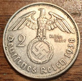 1938 B Silver Germany Third Reich 2 Reichsmark Hindenburg Coin Vienna photo