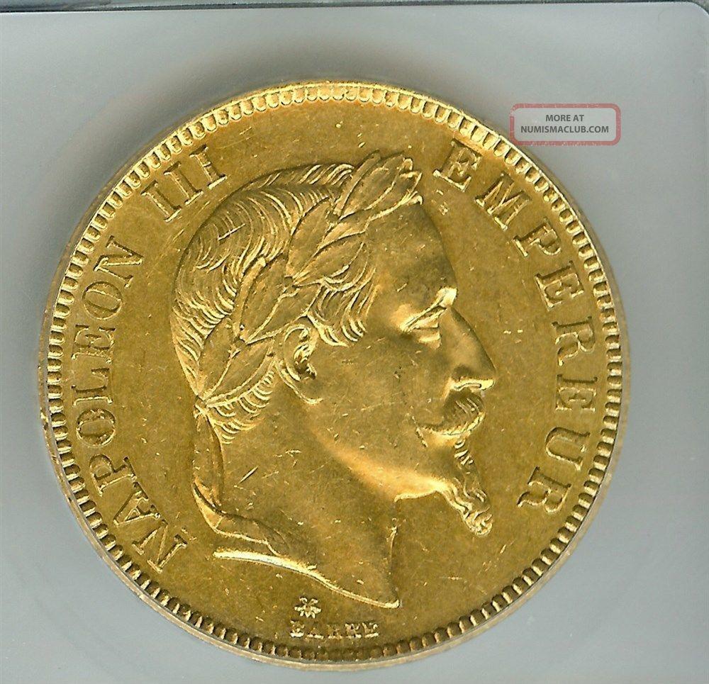 France 1869 - A Gold 100 Francs Km 802.  1 Icg Ms - 62 Rare Europe photo