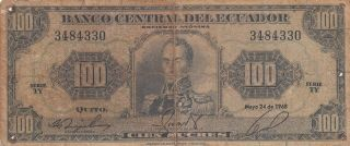 Ecuador 100 Sucres Banknote 24.  5.  1968 (pick 105) photo
