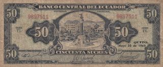 Ecuador 50 Sucres Banknote 30.  5.  1969 (pick 116d) photo