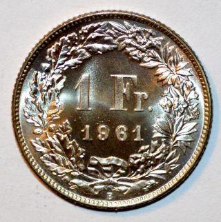 1961 Switzerland Coin 1 Franc Franken.  835 Silver Brilliant State Bu photo