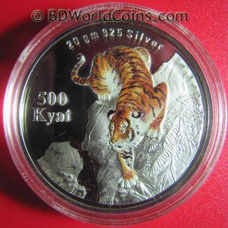 1998 Burma Myanmar 500 Kyat Silver Proof Tiger Stalking Cat Capsule photo