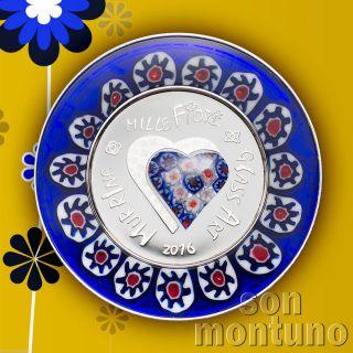 2016 Cook Islands - Murrine Millefiori - Venetian Italian Glass Art Silver Coin photo