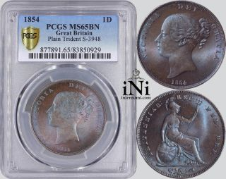 Ini Great Britain,  Victoria,  Penny,  1854,  Plain Trident,  Pcgs Ms 65 Bn photo