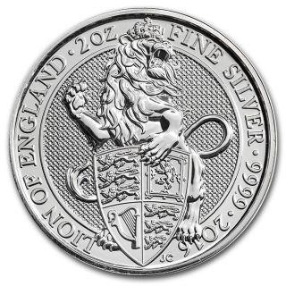 Queen ' S Beast: The Lion - 2016 Britain 5 Pound 2 Oz Silver Bullion Coin photo