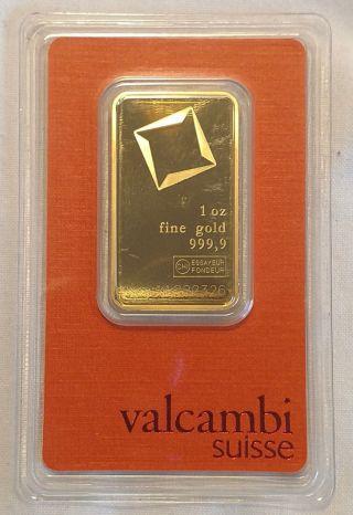 1 Oz Valcambi Gold Bar.  9999 - Assay Card - Sku Aa222314 photo