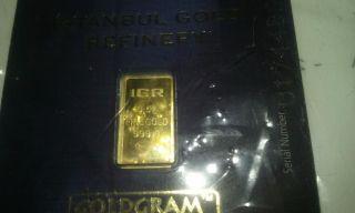 1/2 Gram Igr Istanbul Gold Refinery Bar 9999 Fine In Assay Card,  Bonuses photo