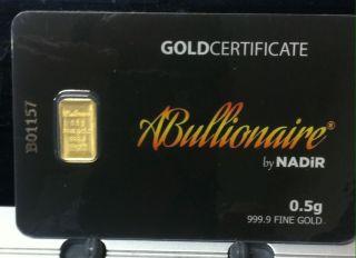 Rare 1/2 Or.  5 Gram 999.  9 24 Kt Nadir Abullionaire Gold Bar In Assay Igr photo