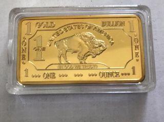 1 Oz 100 Millls.  999 Fine Gold Buffalo Bar Fine Bullion photo