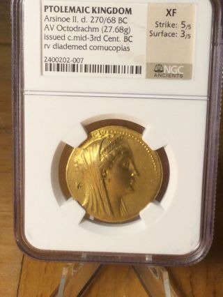 Ptolemaic Kingdom Av Gold Octodrachm 270 - 268bc Ngc Xf 5/5 3/5 photo