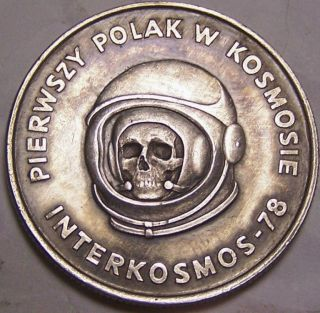 Hobo Nickel By John Hughey Cosmonaut Human Skull Real Coin Art Polish Astronaut photo
