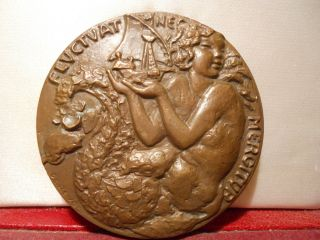 1950 Paris City France Art Bronze Medal Mermaid Fluctuat Nec Mergitur photo
