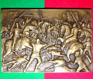 Battle Of Aljubarrota / Big Realistic Bronze Medal By Sousa Machado photo
