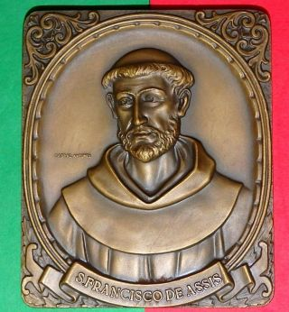 Religious / Saint Francis Of Assisi Bronze Medal By Antunes / 263g - 3.  5x2.  9´´ photo