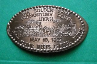 Golden Spike Elongated Penny Utah Usa Cent Promontory Point Souvenir Coin 1869 photo