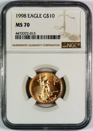 1998 $10 American Gold Eagle Ngc Ms70 A Key Date photo