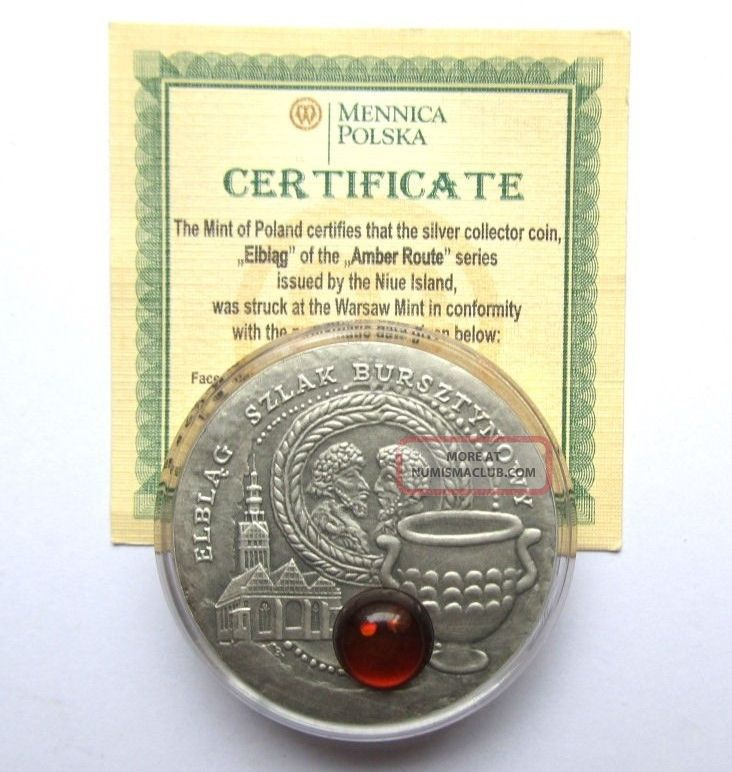 2009 Niue Silver $1 Amber Route Series Elbląg Coin Europe photo